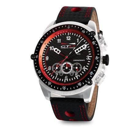 Montre Racer - GTO - Montre pour homme noir et rouge avec bracelet en cuir perforé esprit Sport Auto
