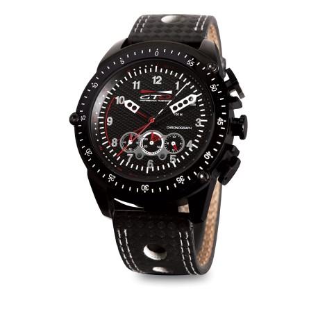 Montre Racer - GTO - Montre pour homme noir avec bracelet en cuir perforé esprit Sport Auto