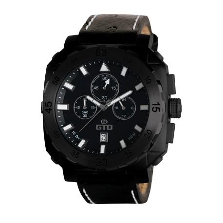 Montre carrée pour homme - Montre noire avec bracelet en cuir noir - Montre Dino Casual de GTO