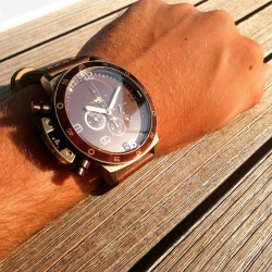 Montre Roadtime Vintage - GTO - Montre pour homme doré et marron avec bracelet en cuir vieilli - adaptée pour gaucher