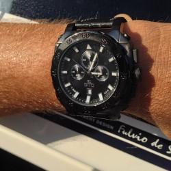 Montre carrée pour homme - Montre noire et blanche avec bracelet en cuir noir - Montre Dino Casual de GTO