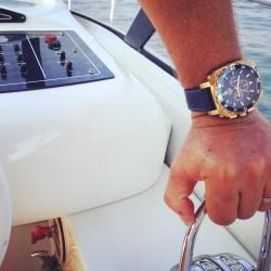 Montre carrée pour homme - Montre dorée et bleu avec bracelet en cuir - Montre Dino Gold de GTO